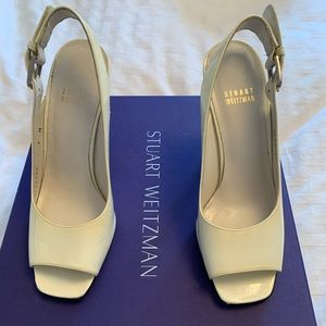 Stuart Weitzman cream sling backs.